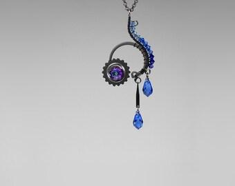 Steampunk Pendant with Blue Swarovski Crystals, Swarovski Necklace, Blue Crystal, Statement Jewelry, Gradient, Wire Wrapped, Hypnos v3