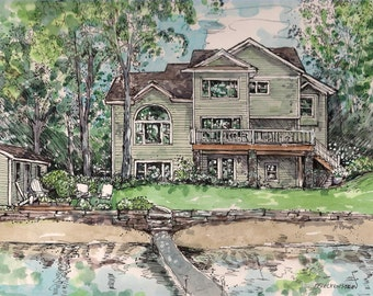 Watercolor House Portrait, Custom House Portraits,Pen/Ink and Watercolor, Homes, Vacation Sites, Hand painted by artist Patty Fleckenstein