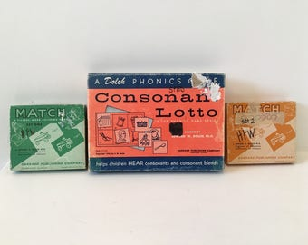 1950s Phonics Game Series/ Educational Game/ Vintage Homeschool / Vintage Match Game