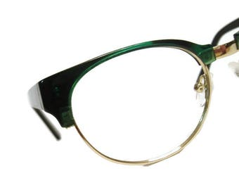 NICE!  Vintage Mens Green And Black Hornrim Eyeglasses Eyewear Frame
