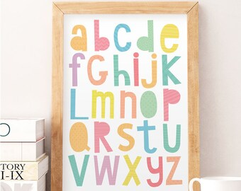 Alphabet Wall Art, Alphabet Wall Decor, Kids Wall Decor, Baby Room Art,  Nursery Wall Decor, Cute Art Print, Art For Kids, Colorful Print