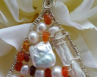 Wire wrapped Sterling silver one-of-a-kind Fire Opal Pearl Triangle Pendant