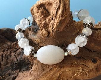 White Quartz Bracelet, Gemstone Beaded Bracelet, Chunky Bracelet, Stretch Bracelet, Boho Bracelet, Summer Jewelry, Stacking Bracelet