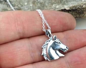 Horse necklace - solid sterling silver horse charm necklace - equestrian pendant - horse jewelry - horse riding - dressage - horse head