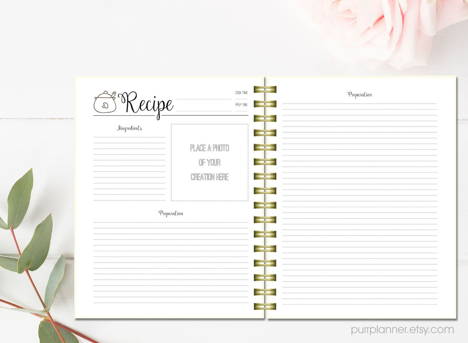 printable recipe pages  cook book binder  letter size
