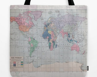 World map bag etsy world map tote bag travel theme tote everything bag allover print gift for mom beach bag travel bag blue gumiabroncs Image collections
