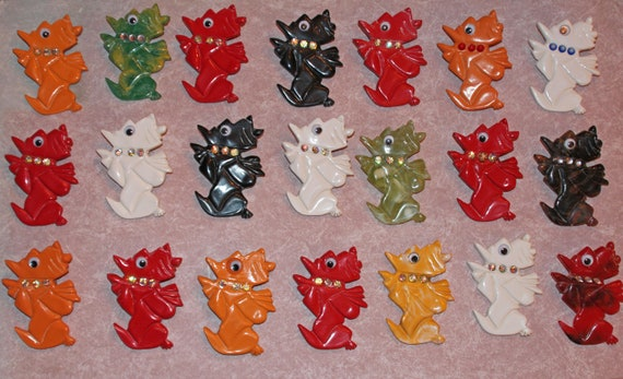 Huge Acrylic Bakelite Style  Scotty Dog Brooches Limited Edition Hand Made