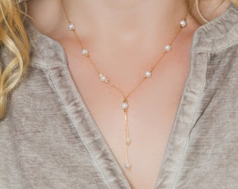 Y Necklace, Pearl Necklace, Pearl Y Necklace, Lariat Necklace,Pearl Pendant,Weddings Jewelry, Bridesmaids Lariat Necklace, Bridesmaids gifts