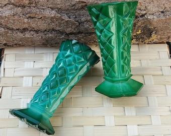 Two Small Glass Malachite Vase, vase for flowers, decorative vase, malachite vase, Czechoslovakia, video here - https://youtu.be/AB0WcvzxM8U