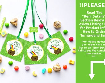 St. Patrick's Day Favor Tags - Pot of Gold Favor Tag - Kawaii St. Patrick's Gift Tags - Emailed and Shipped Tags Available