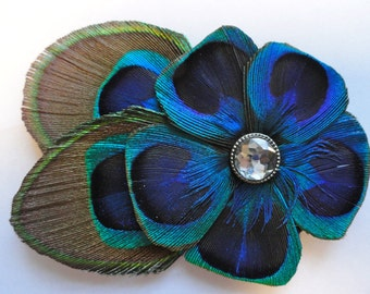 READY to SHIP - ALLY Peacock Flower Hair Clip, Feather Fascinator