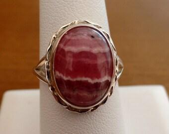 Rhodochrosite Ring, Sterling Silver Rhodochrosite Ring, Pink Gem, Gift for Her, Under 75, Ladies Rhodochrosite, Pink Rhodochrosite, 1014