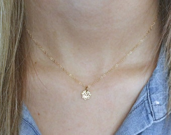 Gold Lotus Necklace - Dainty Lotus Necklace - Tiny Lotus Pendant - Lotus Jewelry - Yoga Necklace - Flower Necklace - Layering Necklace