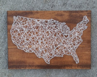 Made to Order String Art United States Map Sign