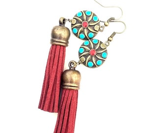 Bohemian inlaid brass pendant earrings//dramatic drop dangle earrings//red tassel earrings// boho chic jewelry// The Tione