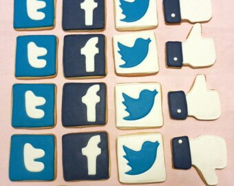 Social Media Cookies Party Platter Assortment-Facebook, Twitter (#2312)