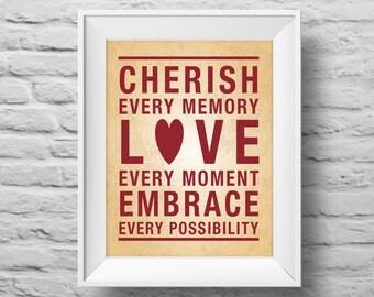 CHERISH EVERY MEMORY unframed Typographic poster, inspirational print, self esteem, love, wall decor, quote art. (R&R0116)
