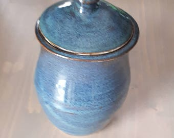 Pottery Jam Jar or treasure holder in denim blue modern simple bowl holds 8 ounces gift for her home decor food safe