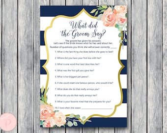 Navy Gold What did the Groom Say Game, What did groom say about Bride, How well couple know each other, Couples shower Game TH74