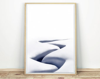 Snow Printable Art - Abstract Print, Winter Stream Print, Minimalist Print, Snow Wall Art, Nordic Print, Snow Drift Art, Modern Wall Art