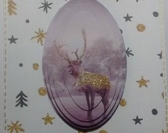 Merry Christmas glitter deer, 3D card