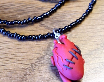 Slashed and Sutured Anatomical Heart Necklace, Science, Experience, Surgical Taxidermy