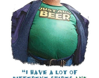 Fun Quote with Humorious Illustration that Pokes Fun at Beer Lovers