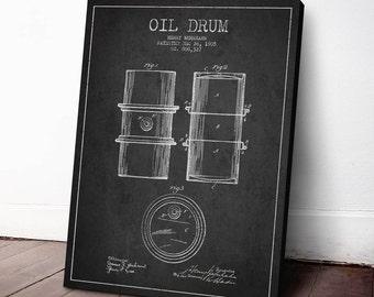 1905 Oil Drum Patent, Oil Drum Print, Oil Drum Canvas Print, Oil Drum Poster, Wall Art, Home Decor, Canvas, Gift Idea, PFEN07C