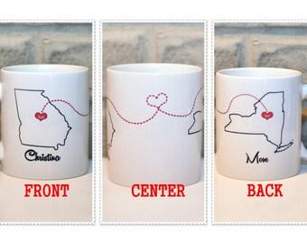 Best Friends Coffee Mug | Long Distance State Mug | Personalized Mug | Custom State Mug | Christmas Gift for BFF, Sister | Gift for Mom