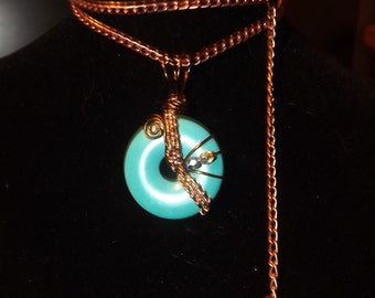 Wire wrapped and woven Turquoise Donut w/chain