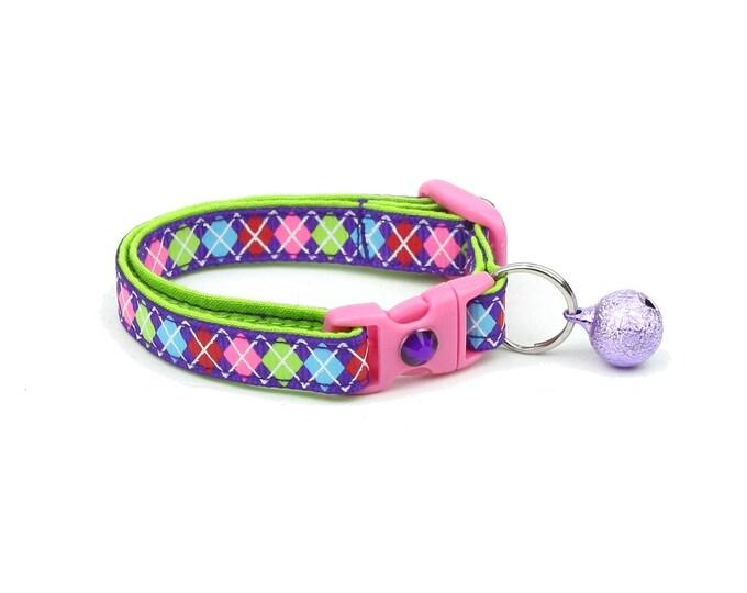 Argyle Cat Collar - Preppy Purple Argyle - Small Cat / Kitten Size or Large Size