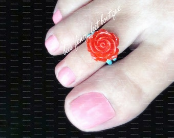 Rose Toe Ring, Rose Ring, Red Rose Toe Ring, Red Rose Ring, Rose Embellishment, Turquoise Beads, Toe Ring, Ring, Stretch Bead Toe Ring