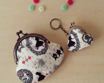 """Porte monnaie + Porte clés fermoir métal vintage """"Alice"""""""