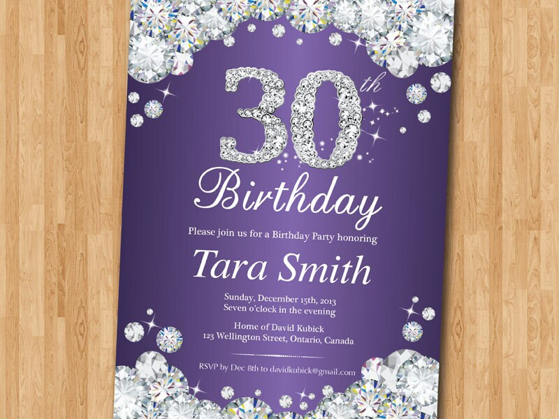 30th Birthday Invitation. Rhinestone Diamond Elegant Birthday