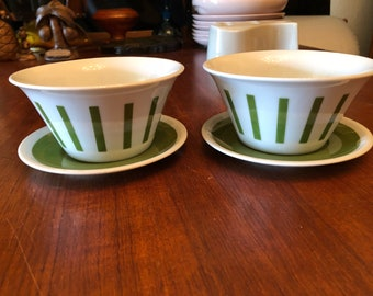 Pair of Vintage 1960s Lagardo Tackett for Schmid Porcelain Green Striped Ice Cream Bowls with Saucers