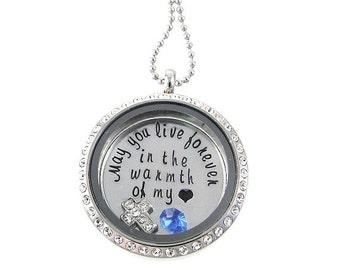 Living Locket - Memorial Floating Locket - Hand Stamped Necklace
