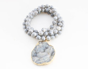 Druzy Pendant Necklace - Gray Agate Hand Knotted Necklace -Druzy Necklace - Long Beaded Necklace - C Edwards Designs - Valentine's Gift