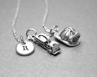 Fire engine necklace, fireman helmet necklace, firefighter necklace, fireman necklace, personalized necklace, initial necklace, monogram