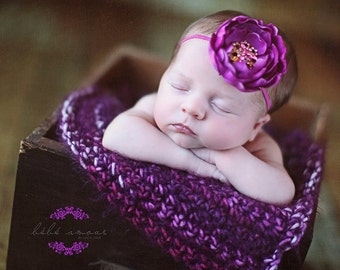Newborn photo prop baby blanket purple super soft photography prop basket filler basket stuffer  18 x 20