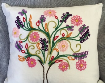 Hand Made Embroidered Flower Tree Cushion Cover. Free AU Shipping.