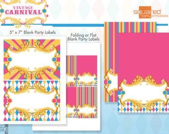 Vintage Carnival Circus Printable Blank Party Label Package - DIY Print - Pink & Aqua