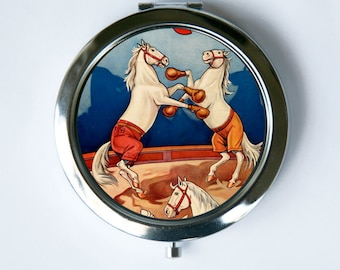 Boxing Horse Compact MIRROR Pocket Mirror vintage circus performers