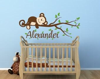 Monkey Decal Monkey Name Decal Nursery Decor Monkey Nursery Decal - Monkey Tree Branch Decal Jungle Theme Nursery Decor