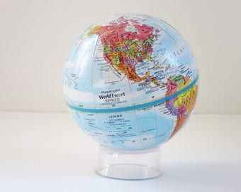 Mini Replogle Earth Globe, Vintage World Globe, Miniature Globe, Vintage Office Decor, Gifts for Guys, World Relief Map, Home Studio Decor