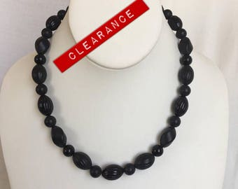 CLEARANCE Mod Black Plastic Bead Necklace, Plastic Beads, Bead Necklace, Mod, Necklace, Vintage, Plastic, Black, Retro, 1960s, Bead
