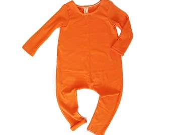 Tangerine Romper- Short or Long Sleeve | long sleeve romper, harem romper, baby onesie, solid romper
