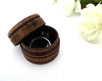 Wood ring box, ring bearer box, keepsake ring box, dark walnut wood box, rustic wedding, round box, country wedding, alternative