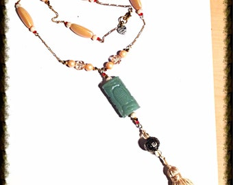Handmade MWL jade necklace. 0118