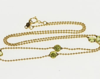 """14K 1.2mm Ball Beaded Peridot Inset Link Chain Necklace 17.6"""" Yellow Gold"""