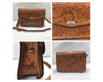 Vintage handtooled embossed genuine leather handmade messenger cross body bag purse